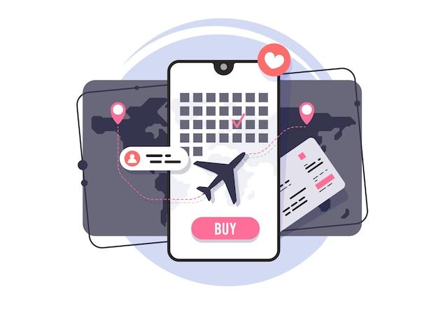 Compra online de passagens aéreas. aplicativo para reserva de passagens aéreas. horário do voo. Vetor Premium
