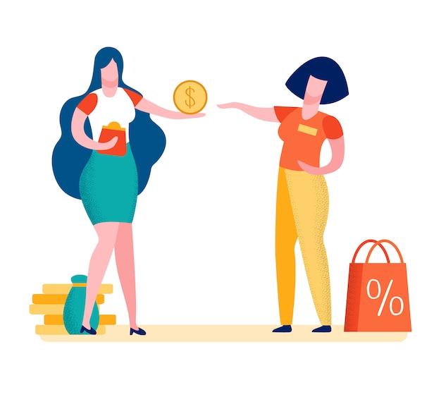 Comprador fazendo compra cartoon ilustração em vetor Vetor Premium