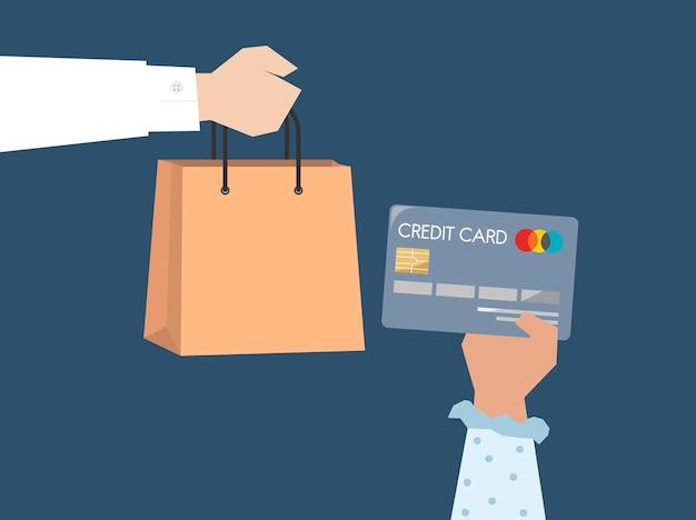 Comprador pagando por ilustração de cartão de crédito Vetor grátis