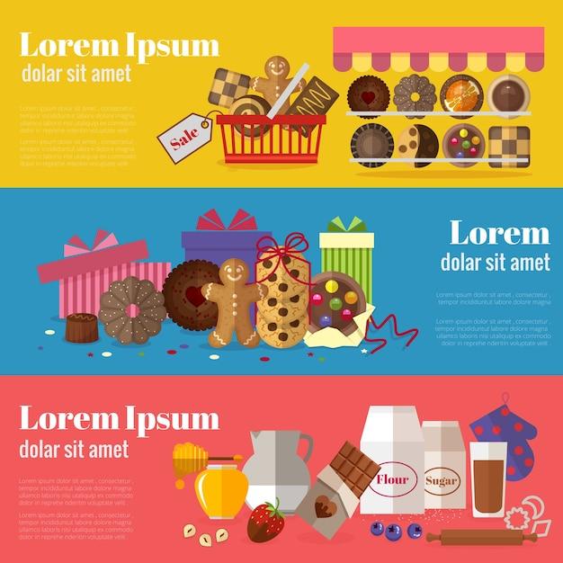 Comprando biscoitos, biscoitos para presente e assando banners de biscoitos. Vetor grátis