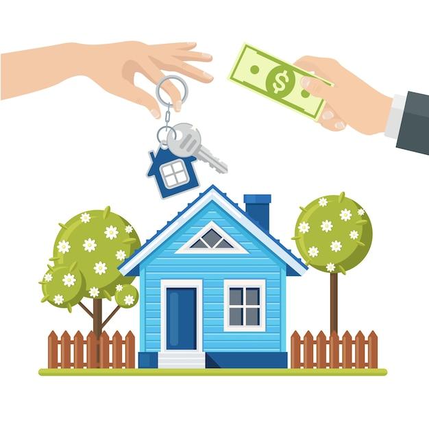 Comprando uma casa. conceito de imóveis e casa para venda. mão segure dinheiro e chave Vetor Premium