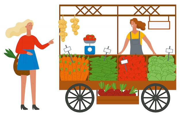 Comprar legumes e frutas em um mercado Vetor Premium