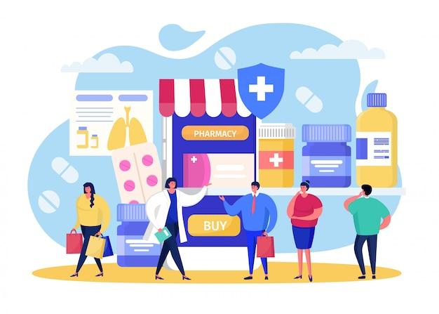 Comprar na farmácia on-line, pessoas pequenas dos desenhos animados, comprando pílulas em farmácia, medicina móvel de saúde em branco Vetor Premium
