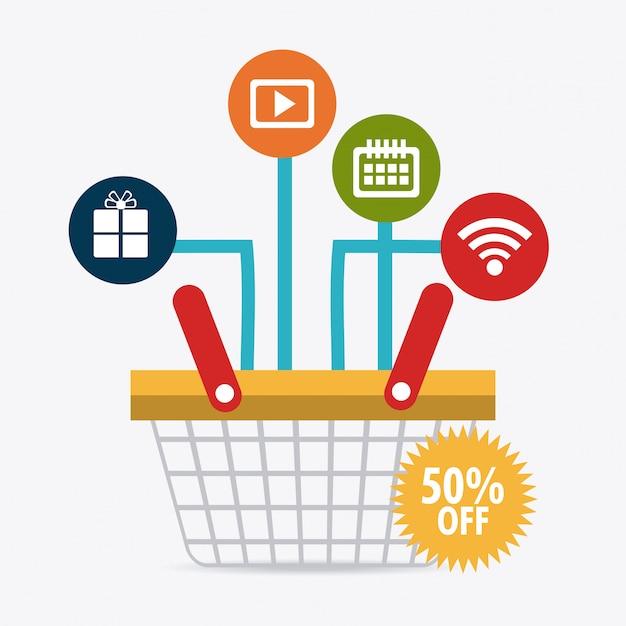 Compras, comércio eletrônico e marketing Vetor Premium