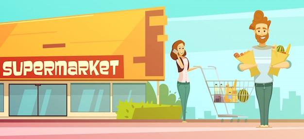 Compras de mercearia de família cartaz retrô dos desenhos animados com loja edifício rua vista Vetor grátis