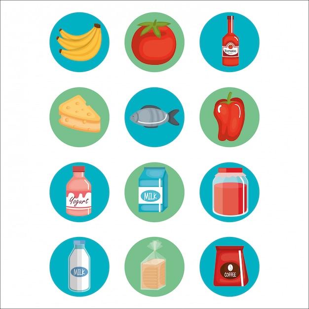 Compras de supermercado conjunto de ícones Vetor grátis