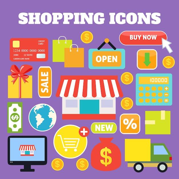 Compras elementos decorativos conjunto com sacos de dinheiro de cartão de plástico isolado ilustração vetorial Vetor grátis