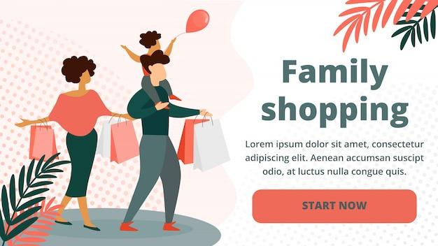 Compras em família feliz. pai, mãe, criança Vetor Premium
