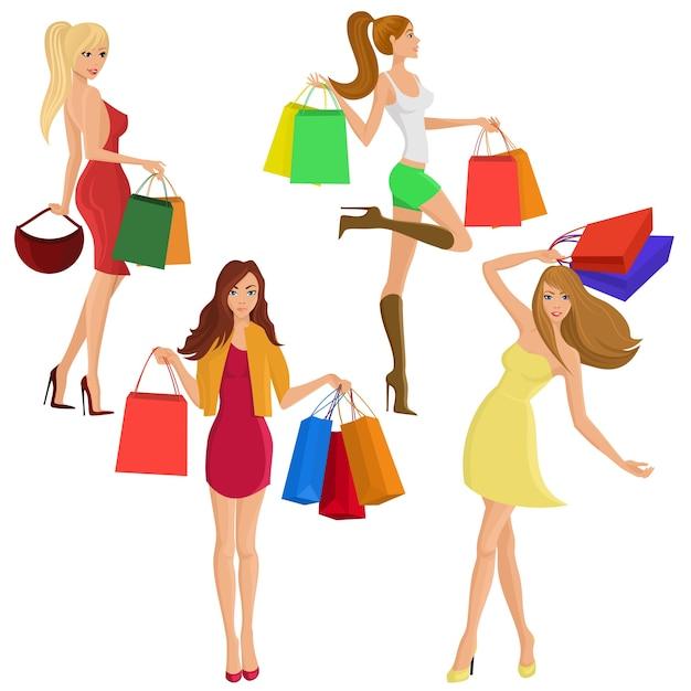 Compras menina jovem feminina figuras femininas com venda saco de moda isolado ilustração vetorial Vetor grátis