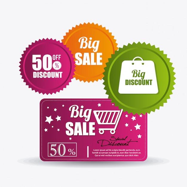 Compras ofertas especiais, descontos e promoções Vetor grátis