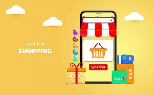 Compras on-line 3d em sites ou conceitos de aplicativos móveis Vetor Premium