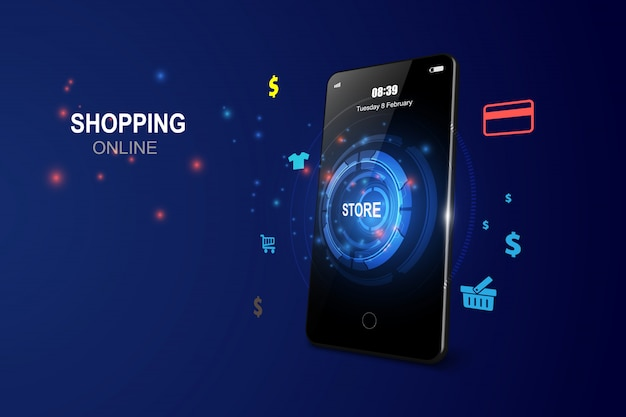 Compras on-line aplicativo onmobile Vetor Premium