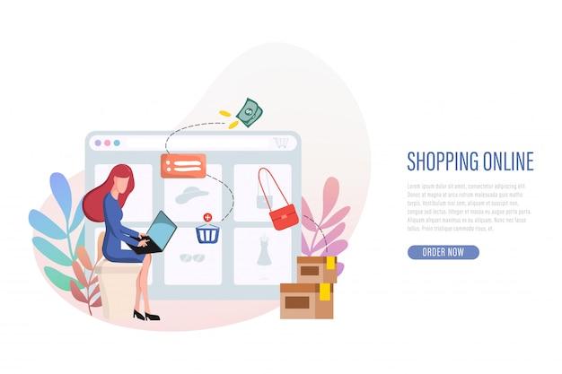 Compras on-line banner web landing page. Vetor Premium