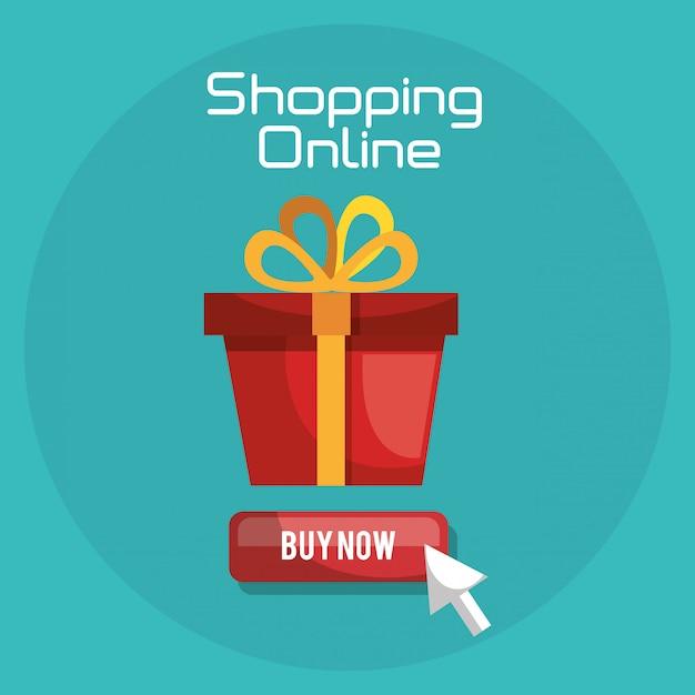 Compras on-line com banner de caixa de presente Vetor grátis