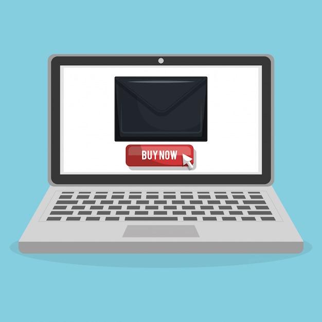 Compras on-line com banner de computador portátil Vetor grátis