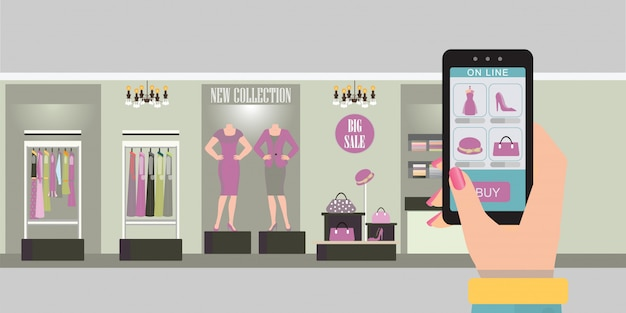 Compras on-line com telefone inteligente. Vetor Premium