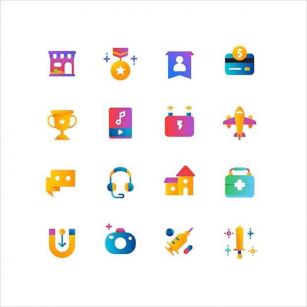 Compras on-line, conjunto de ícones de comércio eletrônico Vetor Premium