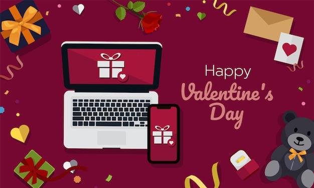 Compras on-line de dia dos namorados no computador portátil e móvel Vetor Premium