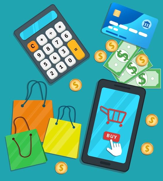 Compras on-line e-commerce app móvel. smartphone plano com ícone de carrinho e comprar botão na tela Vetor Premium