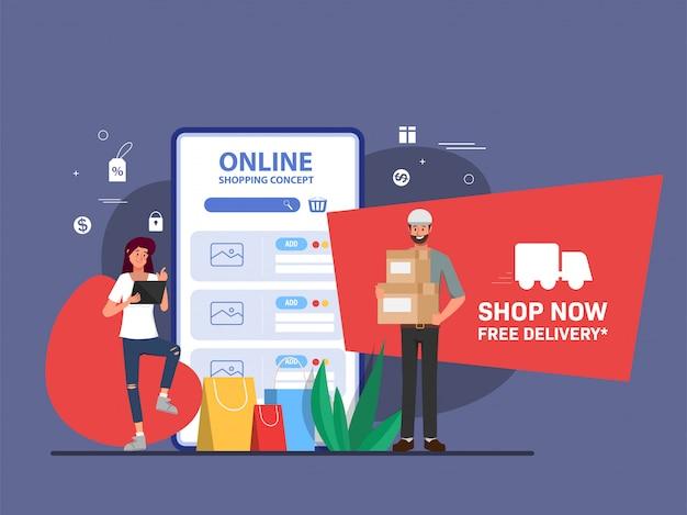 Compras on-line e entrega do modelo de página de destino da web do cliente. Vetor Premium