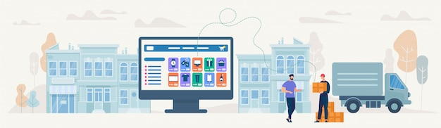 Compras on-line e entrega. ilustração vetorial Vetor Premium