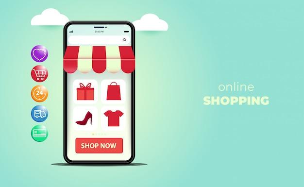 Compras on-line em sites ou aplicativos móveis, com smartphone isométrico. Vetor Premium