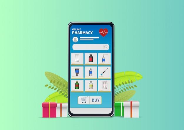 Compras on-line farmácia no site ou aplicativo móvel. Vetor Premium