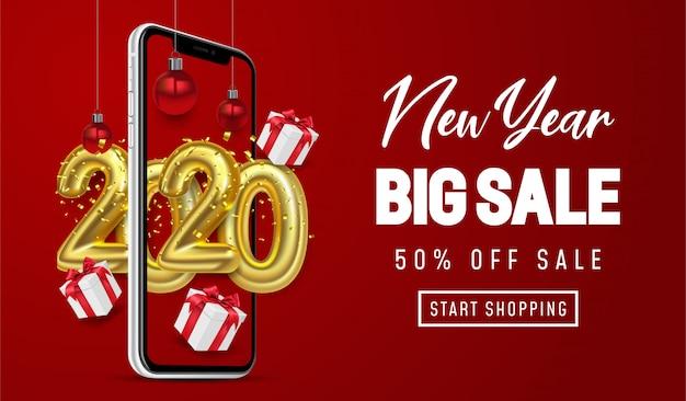 Compras on-line, oferta especial ano novo grande venda, fundo vermelho no celular Vetor Premium