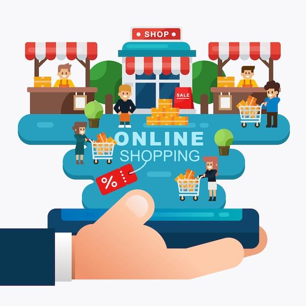 Compras on-line ou conceito de comércio eletrônico com a mão segurando a loja móvel, on-line com o cliente Vetor Premium