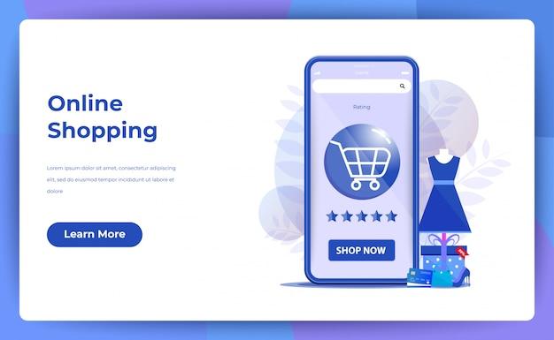 Compras on-line para página do site ou página de destino com classificação por estrelas Vetor Premium