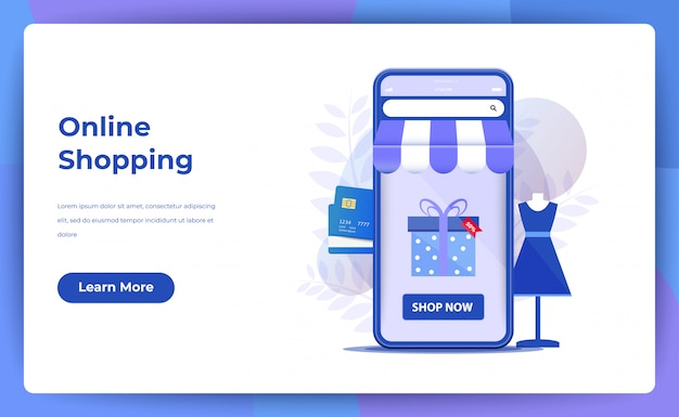 Compras on-line para página do site ou página de destino Vetor Premium