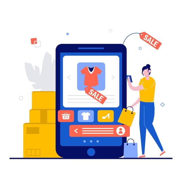Compras online, conceito de e-commerce com personagem. Vetor Premium