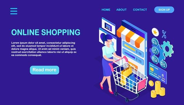 Compras online, conceito de venda. compre na loja de varejo pela internet. mulher isométrica com carrinho, sacola, celular, smartphone, dinheiro, cartão de crédito Vetor Premium