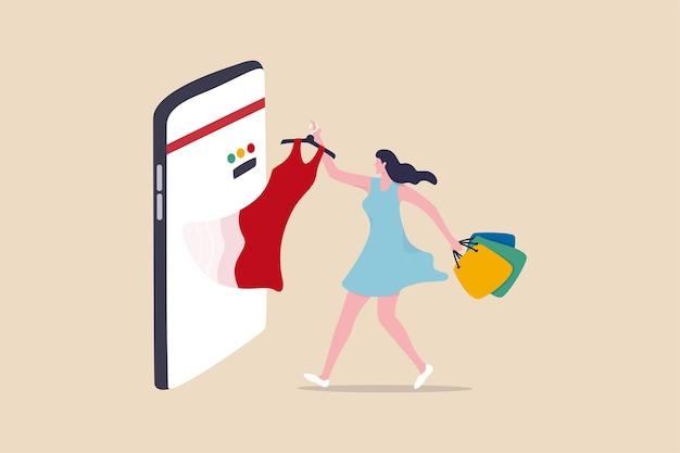Compras online e-commerce ou compra e compra de produtos através do conceito de aplicativo móvel Vetor Premium
