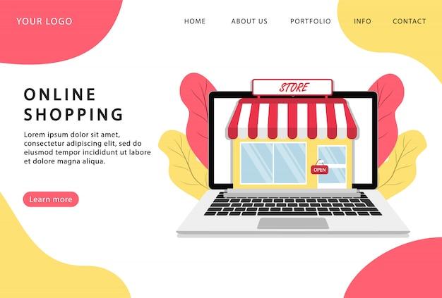 Compras online. loja online. fique em casa. página de destino. páginas da web modernas para sites da web. Vetor Premium
