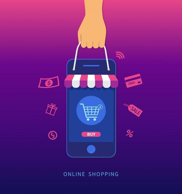 Compras online. mão segurando o smartphone e a sacola de compras. Vetor Premium