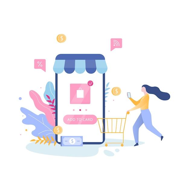 Compras online no aplicativo. compre roupas online Vetor Premium