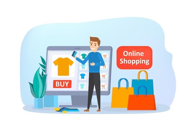 Compras online no site. compre roupas online. conceito de e-commerce e entrega. encomende produtos e obtenha-os de forma rápida e fácil. ilustração Vetor Premium
