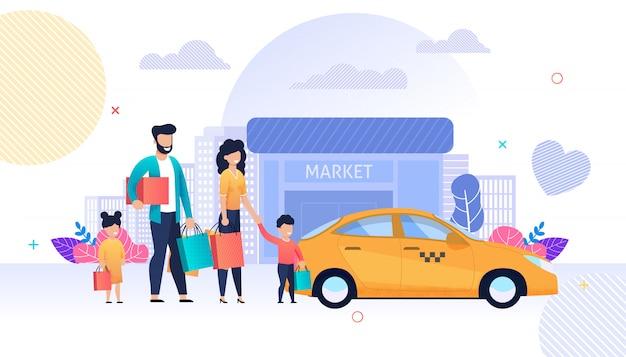 Compras para a família e taxi service flat cartoon Vetor Premium