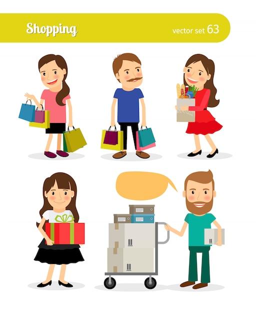 Compras pessoas com carrinho de compras e carrinho de compras Vetor Premium