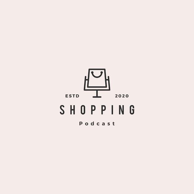 Compras podcast logotipo hipster retro vintage ícone para loja blog vídeo vlog revisão canal Vetor Premium