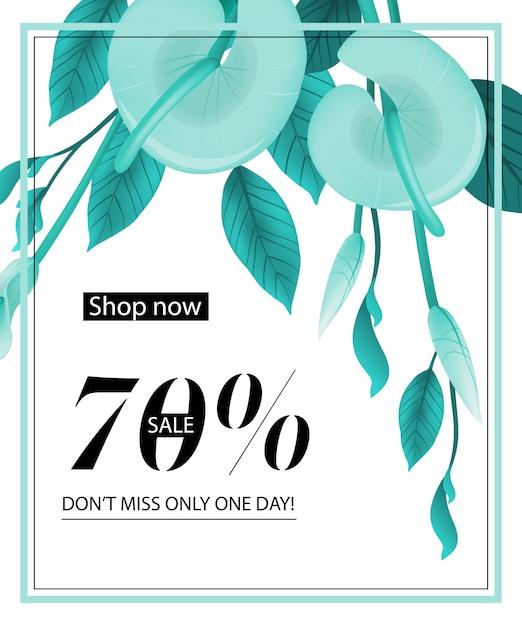 Compre agora, venda de setenta por cento, não perca apenas um dia, cupom com hortelã calla lily Vetor grátis
