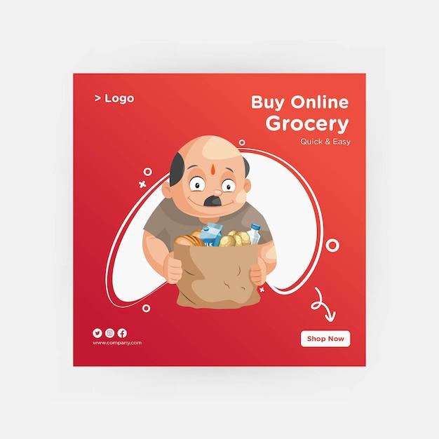 Compre on-line design de banner de supermercado para mídia social Vetor Premium
