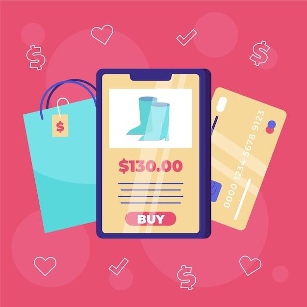 Compre online no celular Vetor Premium