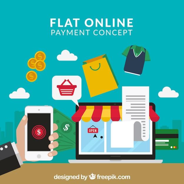 Compre online usando o celular Vetor grátis