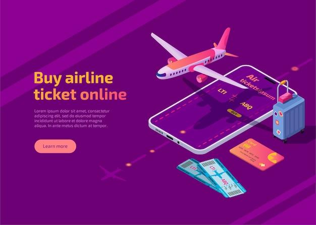 Compre passagem aérea online ilustração isométrica aplicativo de viagem de avião para celular Vetor grátis