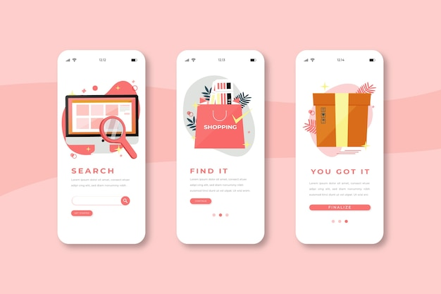 Compre telas de aplicativos on-line on-line Vetor grátis
