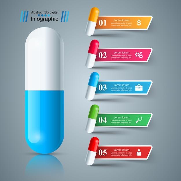 Comprimido, tablet, ícone de medicina, infográfico de negócios de saúde. Vetor Premium