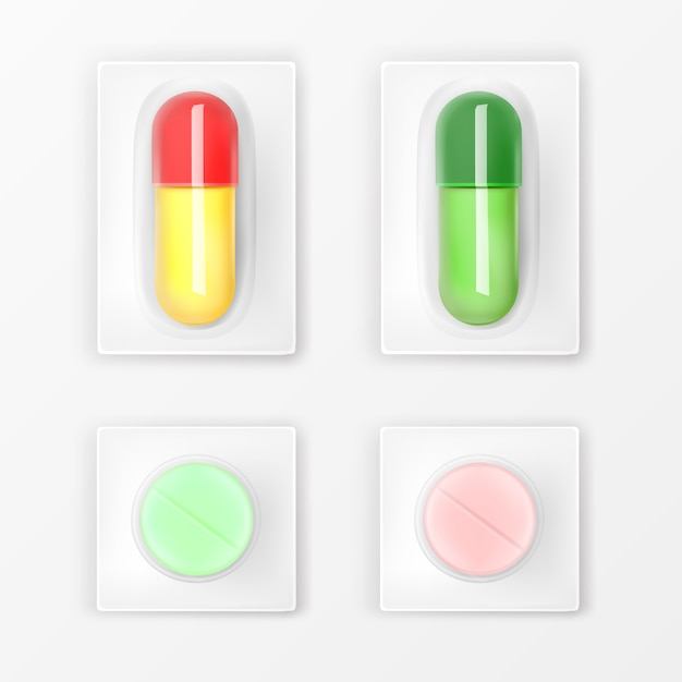 Comprimidos blister, comprimidos e cápsulas Vetor grátis
