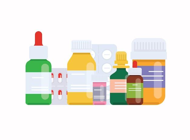 Comprimidos e frascos médicos. conceito médico. Vetor Premium